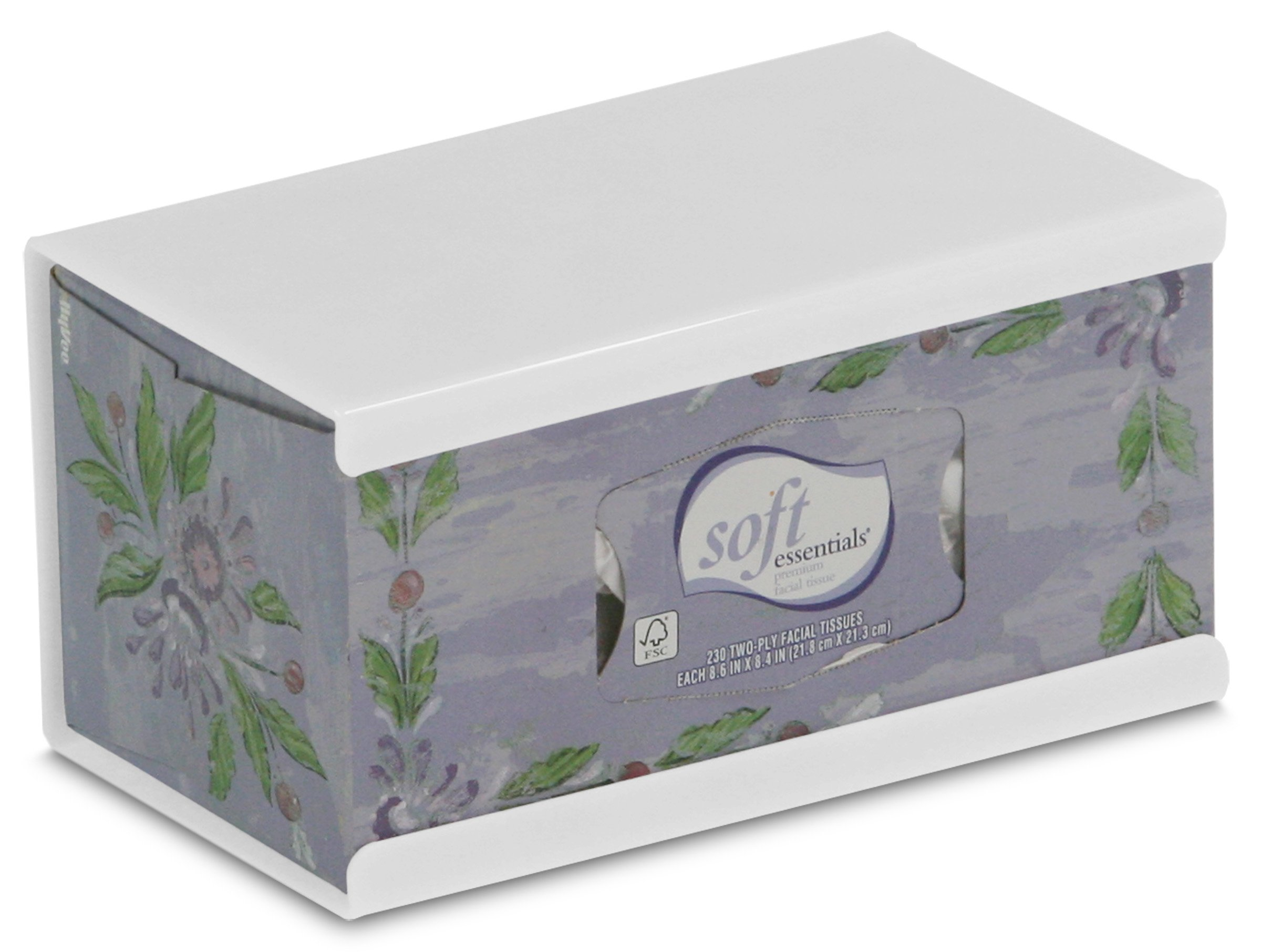 TrippNT 50897 High-Impact Polystyrene (HIPS) Wall-Mountable Kleenex Box Holder with Tape for 200 Count Box, 10'' Width x 5'' Height x 5'' Depth, Large