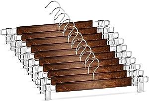 1155 - Hi-Grade Pants Hangers Metal Clips Solid Wood Skirt Hanger 10 Pack – PP04