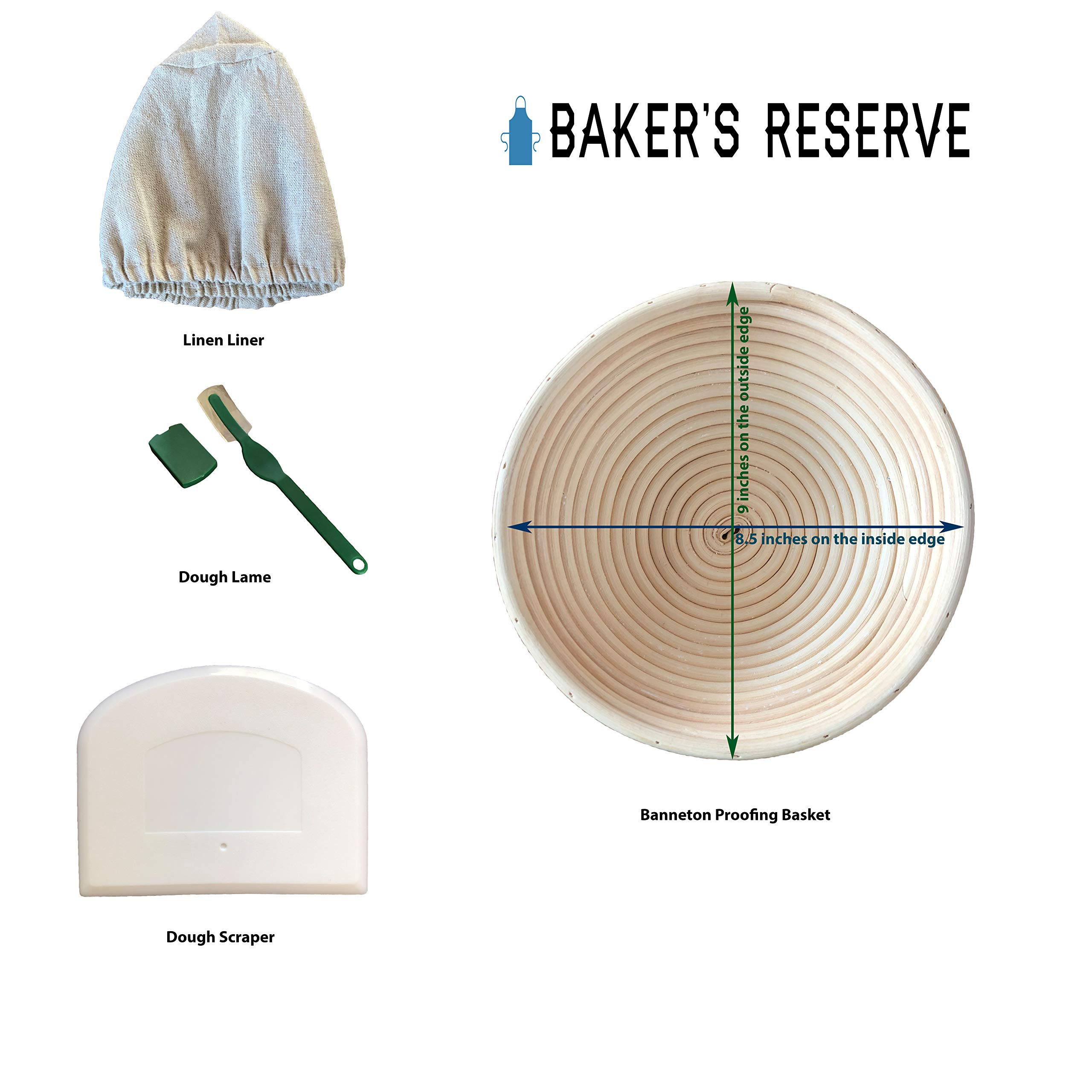 Make Beautiful Sourdough Bread with Baker's Reserve Ultimate Bread Baking Kit - Kit Includes Round 9 inch Banneton, Linen Liner, Dough Scraper and Dough Lame - Perfect for Making Rustic, Artisan Bread by Baker's Reserve (Image #2)
