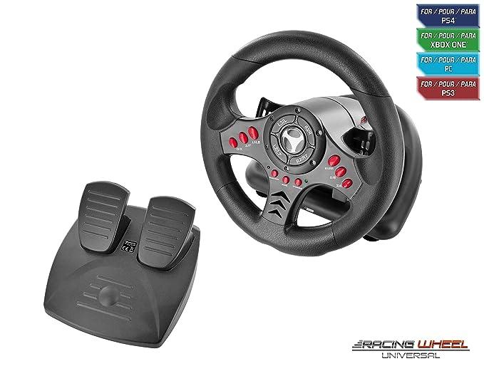 Subsonic SA5426 Lenkrad Racing Wheel Universal mit Pedaleinheit und paletten zum Verschieben für Playstation 4/ PS4 Slim/PS4