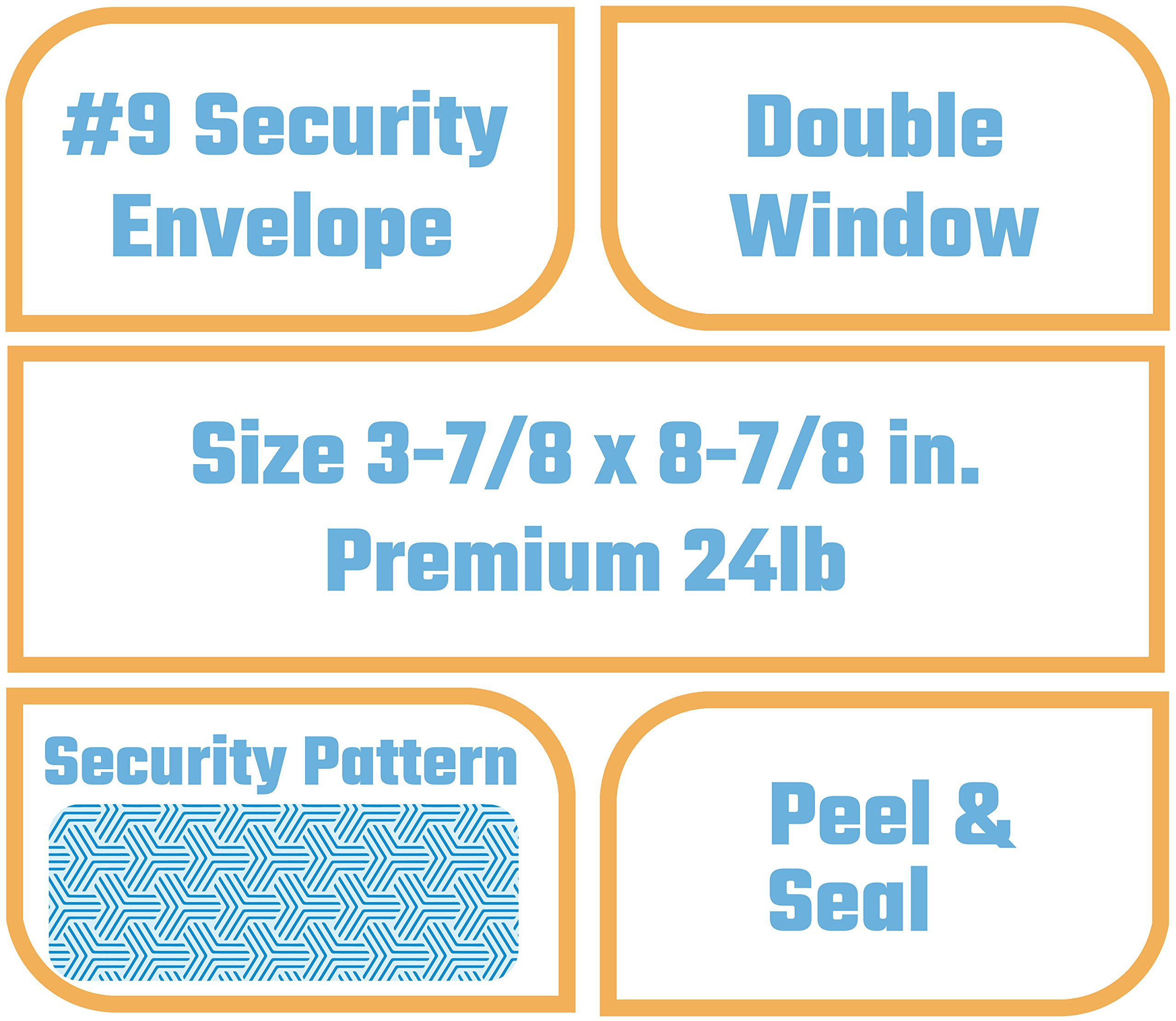 Office Deed Double Window SELF SEAL Security Envelopes - Quickbooks invoice envelope size