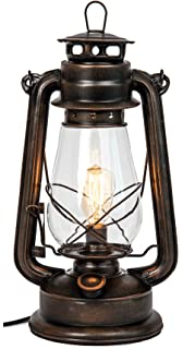 Dimmable Electric Lantern Lamp With Edison Bulb Included Rustic Rust Finish