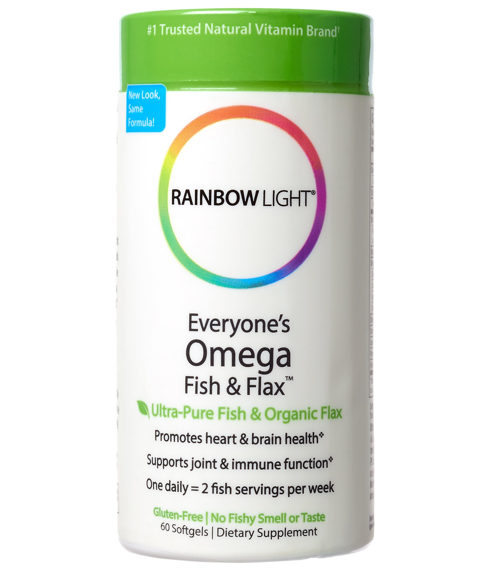 Rainbow Light - Everyone's Omega Fish & Flax, Supports a Healthy Brain and Heart while Promoting Joint Comfort with Omega-3 EPA and DHA, Organic Flax Oil and Vitamin D3, Lemon Flavored, 60 Softgels