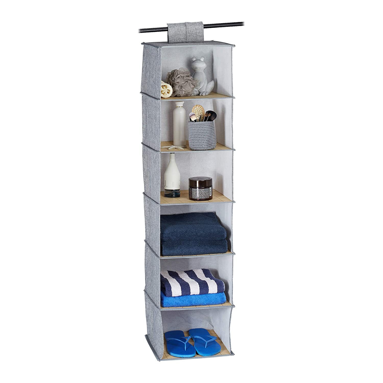 Plegable Organizador de bamb/ú Relaxdays Estanter/ía Colgante de Tela 120x30x30 Gris 120 x 30 x 30 cm Cierre de Velcro Seis estantes