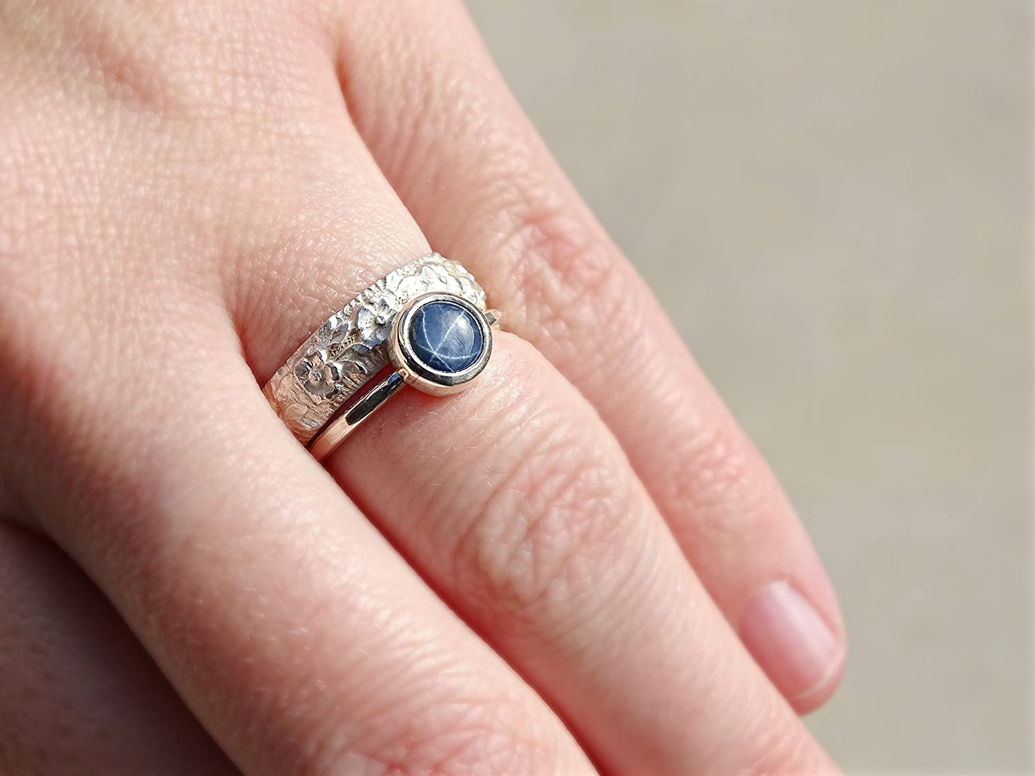 Amazon.com: star sapphire engagement ring, delicate sapphire ring ...