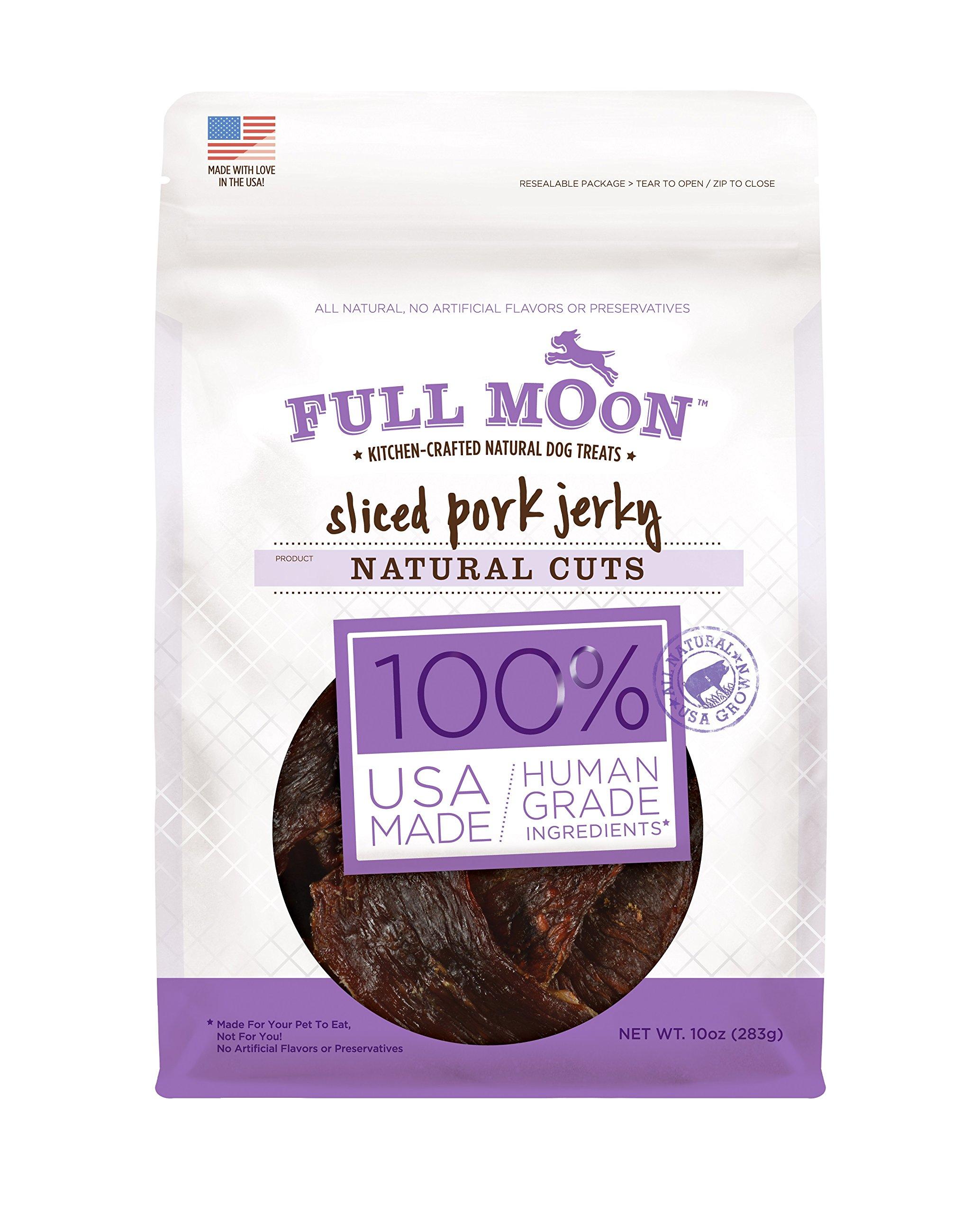 Full Moon All Natural Human Grade Dog Treats, Natural Cut Jerky, Sliced Pork, 10 Ounce