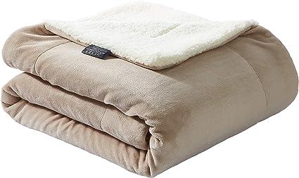 PimpamTex Couverture de canap/é r/éversible au toucher velours ultra-doux et chaud 130/x/160/cm 130x160 cm beige