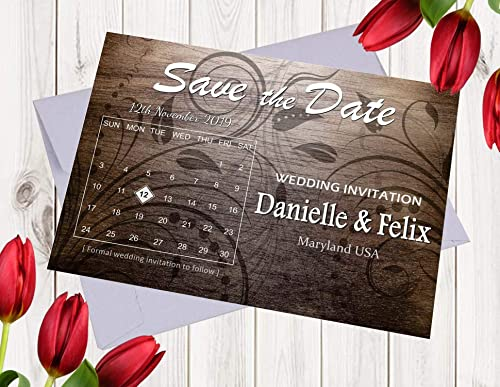 Rustic Design Personalized Save The Date Card With Envelope