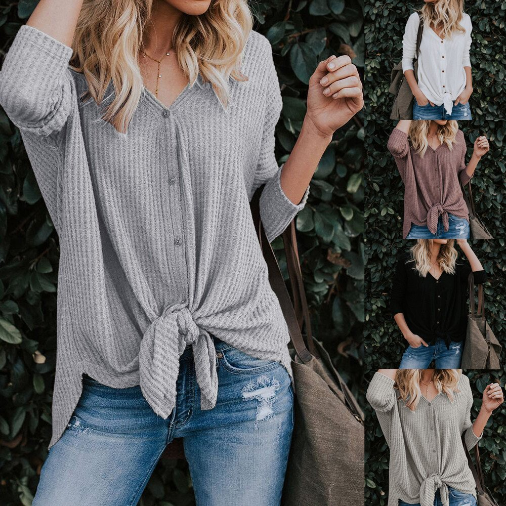 OrchidAmor Spring Deals 2019! Womens Loose Knit Tunic Blouse Tie Knot Henley Tops Bat Wing Plain Shirts at Amazon Womens Clothing store: