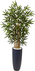 Nearly Natural 4' Bamboo Artificial Tree in Gray Cylinder Planter, Green
