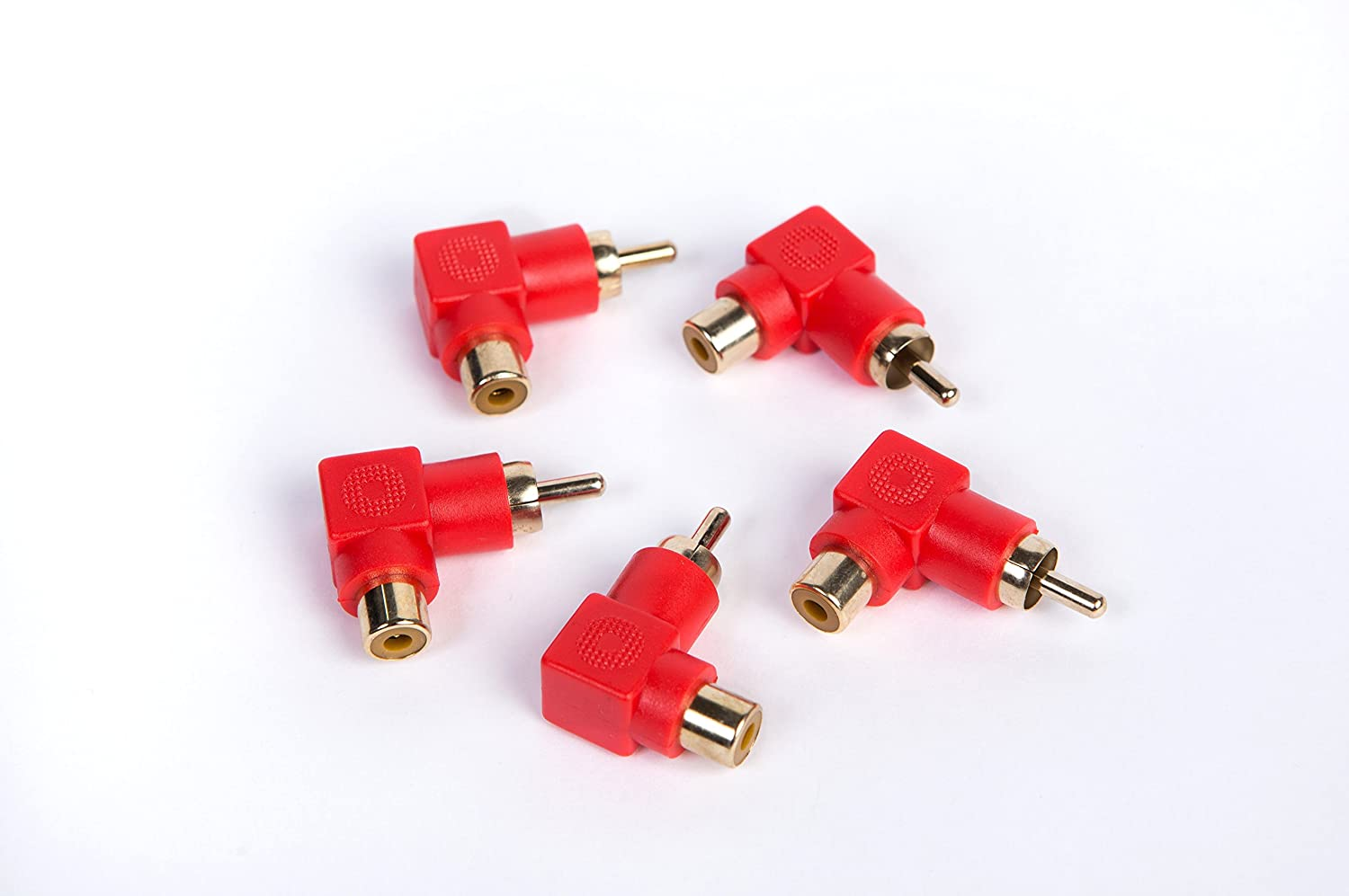 Red. Harun Tech Audio 5-Pack RCA Male to RCA Female Right-Angle Gold-Plated Adapter