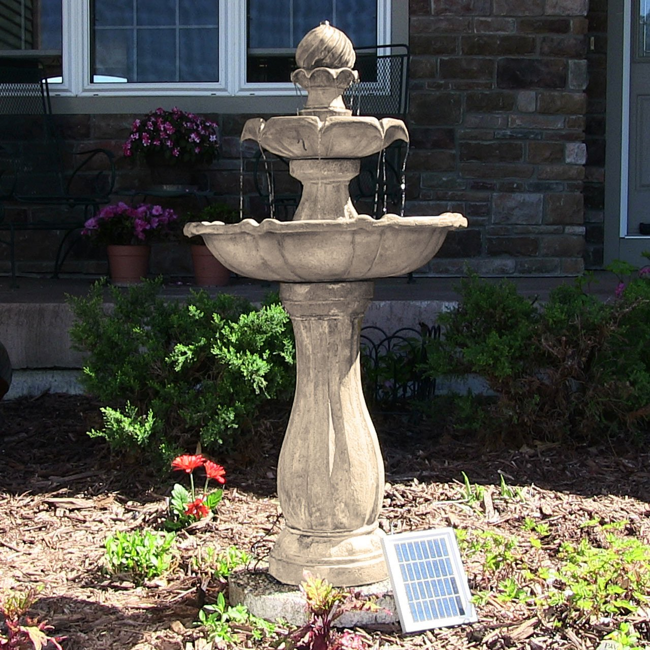 Sunnydaze 2-Tier Arcade Outdoor Solar Power Water Fountain with LED Light, Earth Finish, 45 Inch Tall