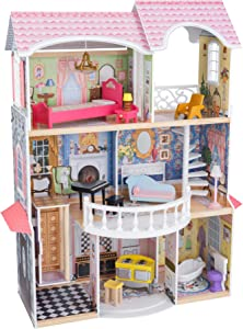 KidKraft Magnolia Mansion Wooden 3 Level 6 Room Dollhouse for 18 Inch Dolls with 13 Furniture Pieces Including Working Lamps