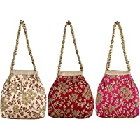 Keshav Industries 3 Pieces Embroidered Woman Potli Bag (Cream, Pink & Maroon)-KSITC4081