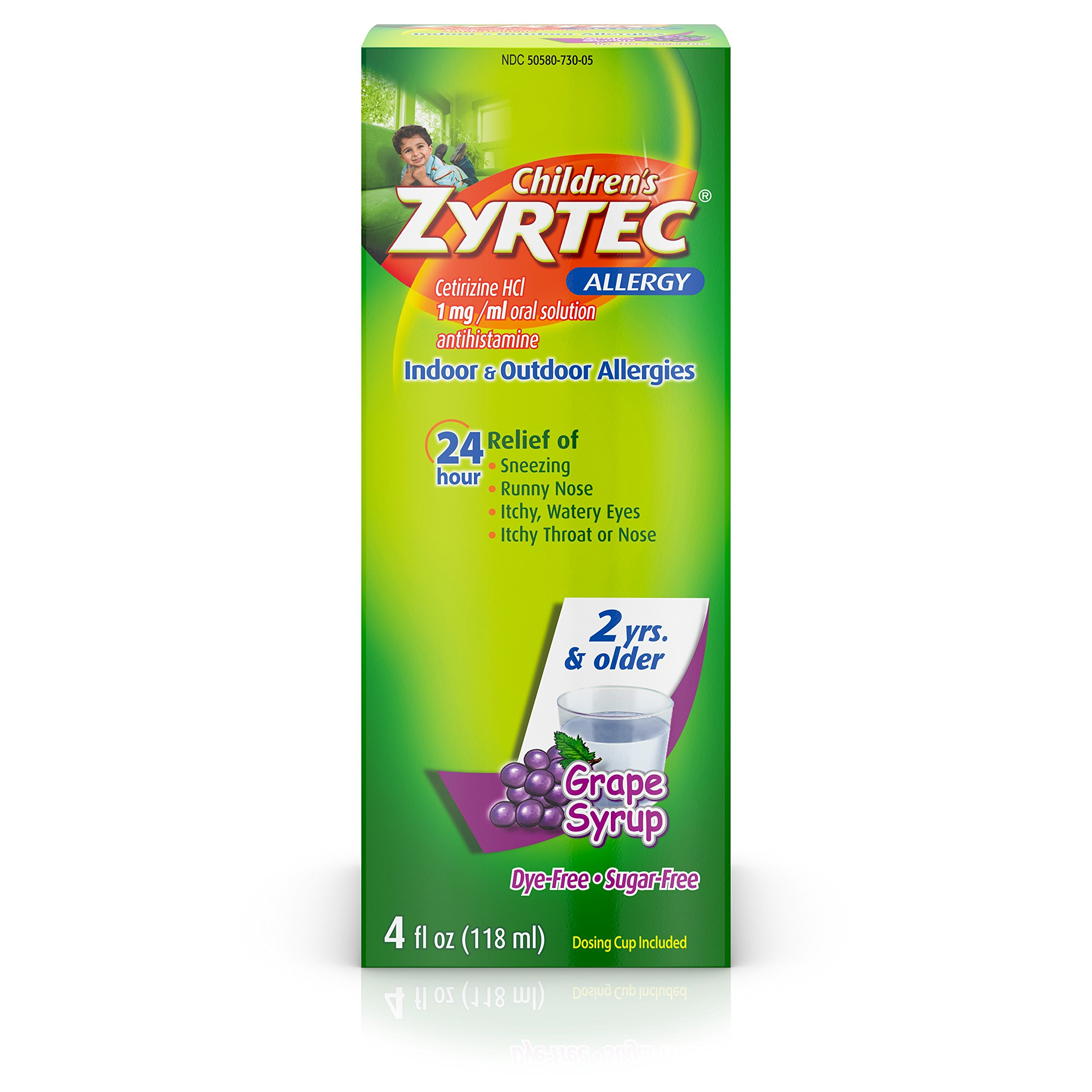 Zyrtec 24 Hr Children's Allergy Syrup with Cetirizine, Dye- & Sugar-Free, Grape Flavor, 4 fl. oz, pack of 36