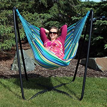 hanging hammock chair swing sturdy space saving stand indoor outdoor use with two cushions ikea ekorre seat