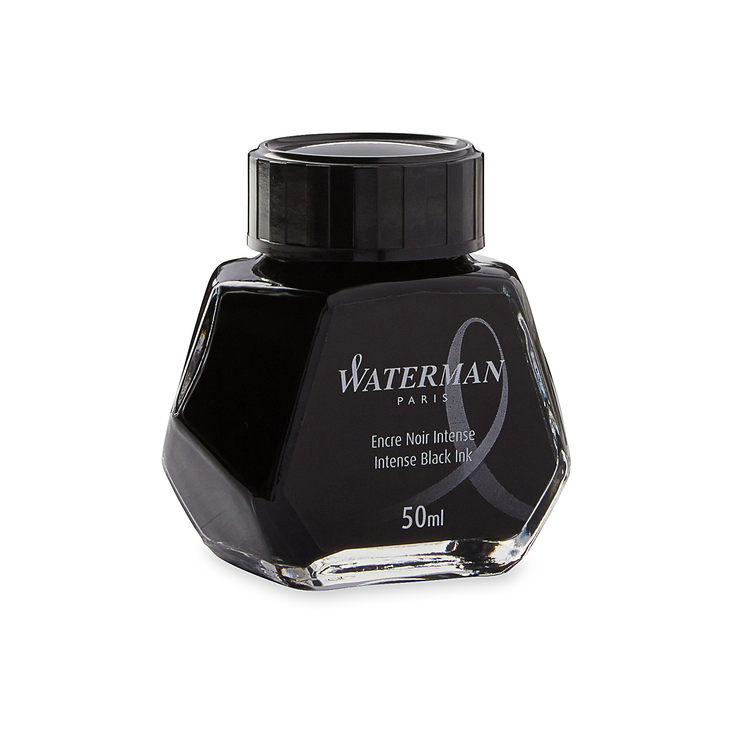 Waterman 1.7 oz Ink Bottle for Fountain Pens, Intense Black (S0110710)