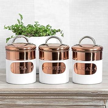 White Copper Tea Coffee Sugar Storage Canisters Amazonco