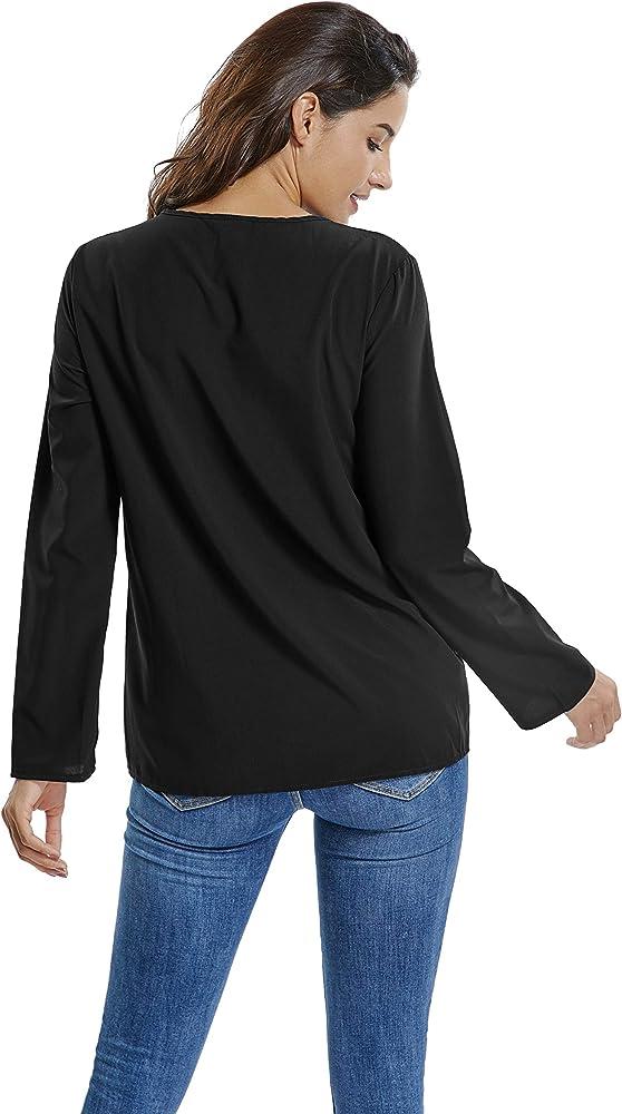 kefirlily Blusa Mujer Chiffon Camisa De Manga Larga para con Botones Cuello V Camisas Negro S: Amazon.es: Ropa y accesorios