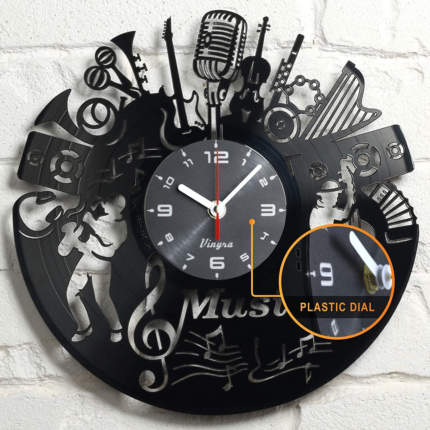 "Vinyra Music Vinyl Record Wall Clock Vintage Microphone Musical Instrument Saxophone Violin Theme Jazz Notes Art Home Room Decor Musician Gift Set Idea for Music Lovers 12"" LP Clock Black"
