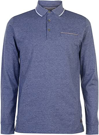 Pierre Cardin Hombre Yarn Dye Camisa Polo Manga Larga Oscuro Azul ...