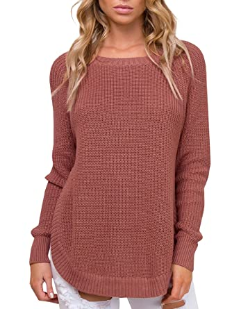 d6b6d170663f14 BerryGo Women s Casual Long Sleeve Side Split Knit Pullover Sweater Jumper  (Brick Red
