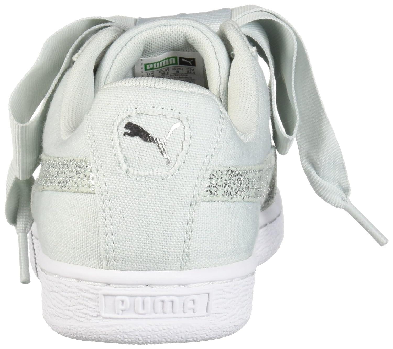 PUMA Women's Basket Heart Canvas Wn Sneaker B07521KNT8 5.5 B(M) US|Blue Flower-puma White-puma Silver