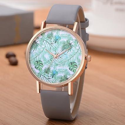 Dilwe Reloj de Pulsera Mujeres Reloj Moderno Diseño de Hojas Preselección Botón Cuarzo Movimiento Reloj de