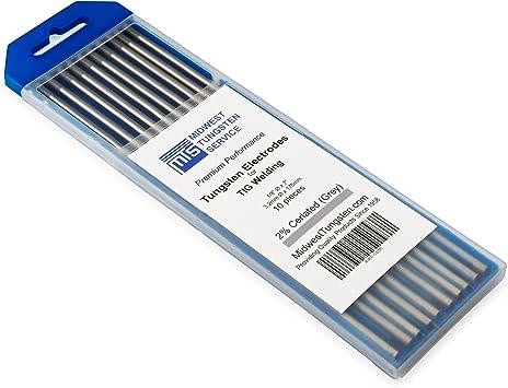 Gray WeldingCity 10-pk TIG Welding Tungsten Electrode Rod Ceriated 2.0/% 10-pcs//box 1//16 X 7 1//16 Diameter and 7 Length