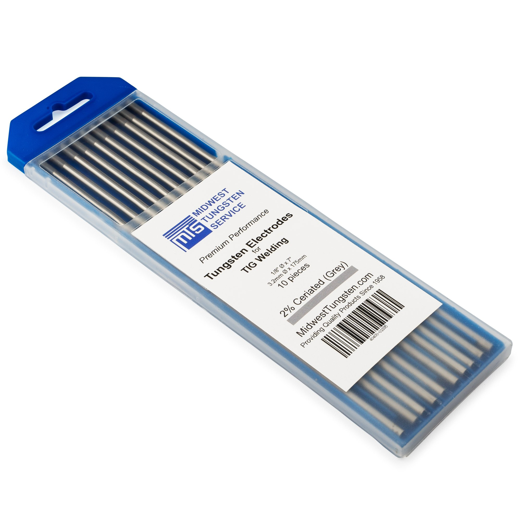 TIG Welding Tungsten Electrodes 2% Ceriated 1/8'' x 7'' (Grey, WC20) 10-Pack by Midwest Tungsten Service