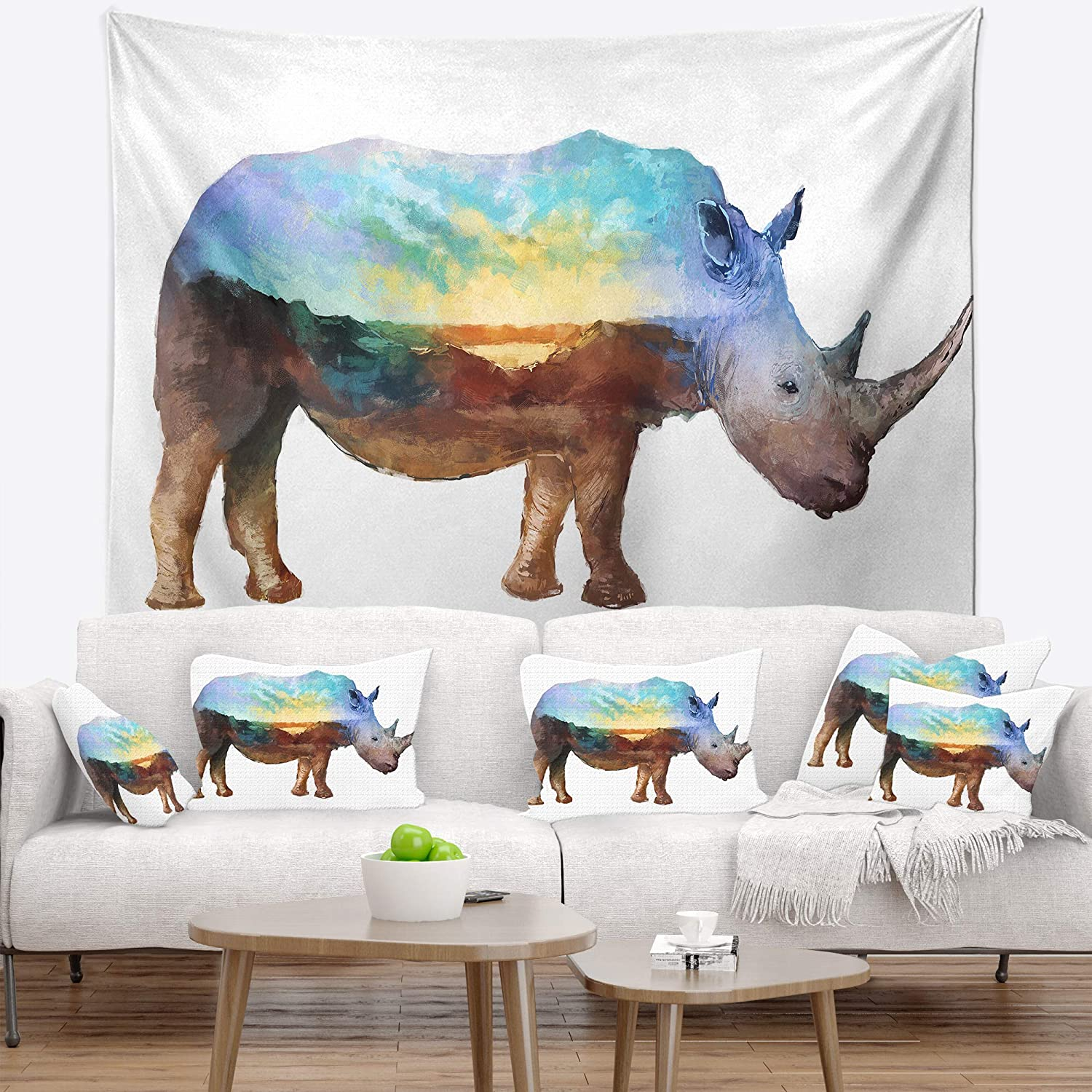 Designart TAP14517-80-68  Rhino Double Exposure Illustration Animal Blanket D/écor Art for Home and Office Wall Tapestry x Large x 68 in Created On Lightweight Polyester Fabric 80 in