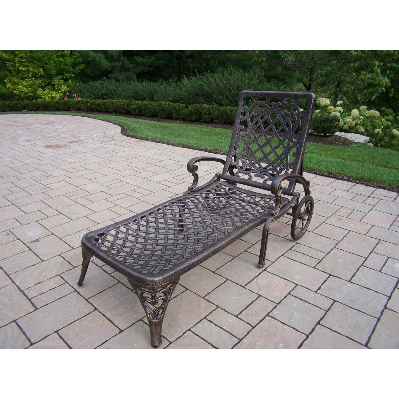 Oakland Living Mississippi Cast Aluminum Chaise Lounge, Antique Bronze