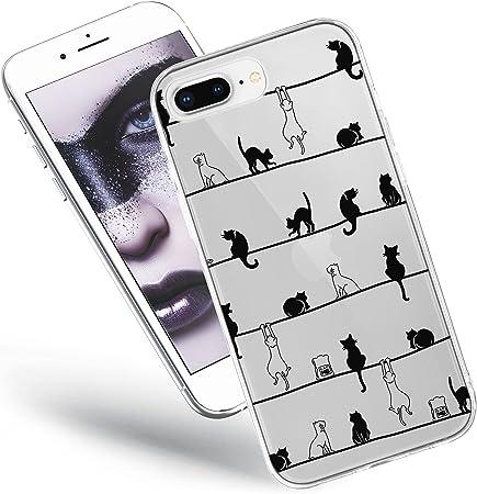 QULT Custodia Compatibile con iPhone 7 Plus Cover iPhone 8 Plus Silicone Morbido Animali Trasparente Chiaro Cristallo Anti-Scratch Bumper Case Plus ...