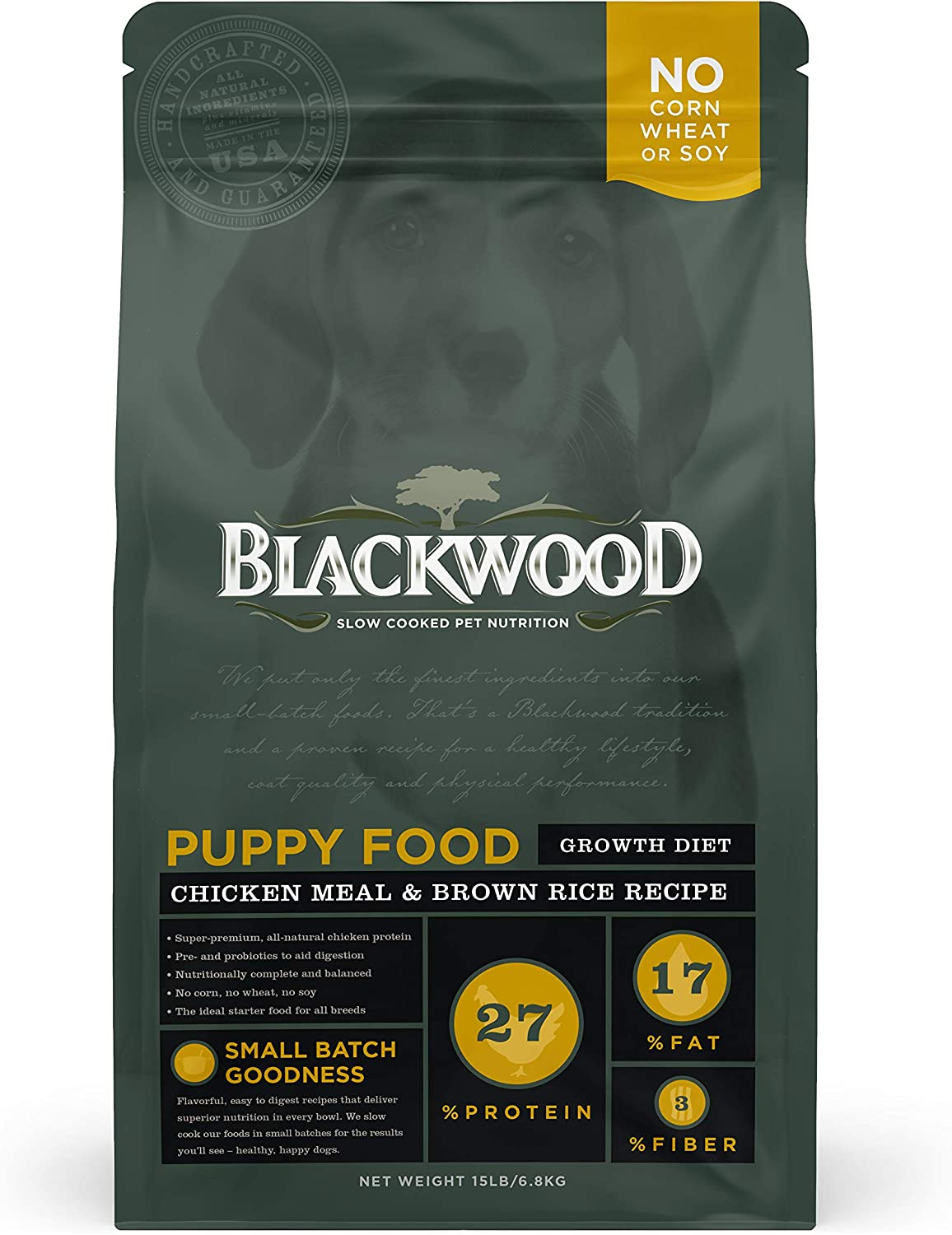 Blackwood Puppy Dry Dog Food Growth Diet [Natural Dog Food For All Breeds and Sizes of Puppies], Chicken Meal & Brown Rice Recipe, 15 lb. bag