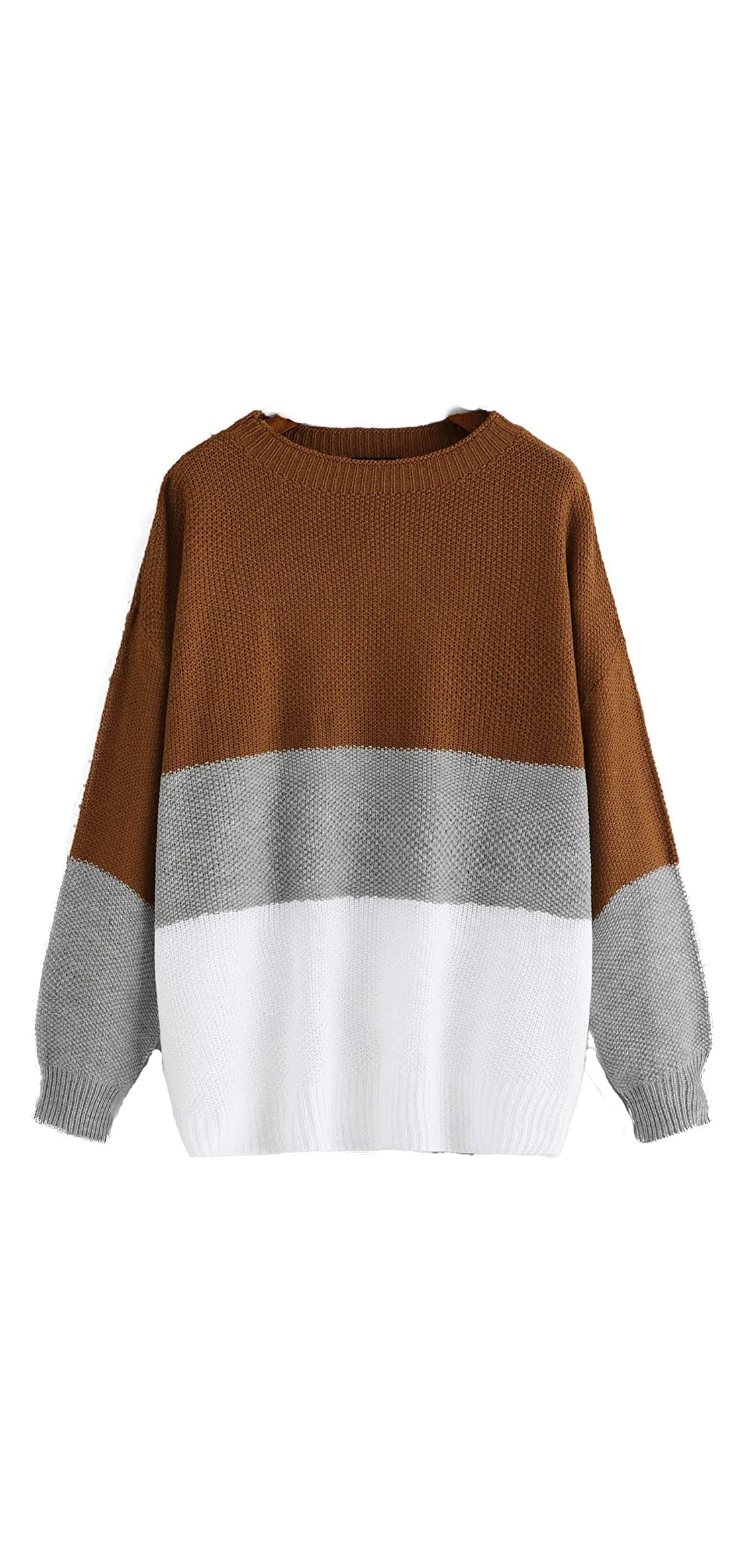 Women's Drop Shoulder Color Block Textured Jumper Casual