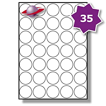 photo relating to Printable Sticky Labels named 35 For every Webpage/Sheet, 50 Sheets (1750 Spherical Sticky Labels), Label Planet® White Blank Matt Self-Adhesive A4 Round Circle Expense Pricing Stickers,