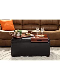 Convenience Concepts Designs4Comfort Storage Ottoman With Trays, Dark  Espresso