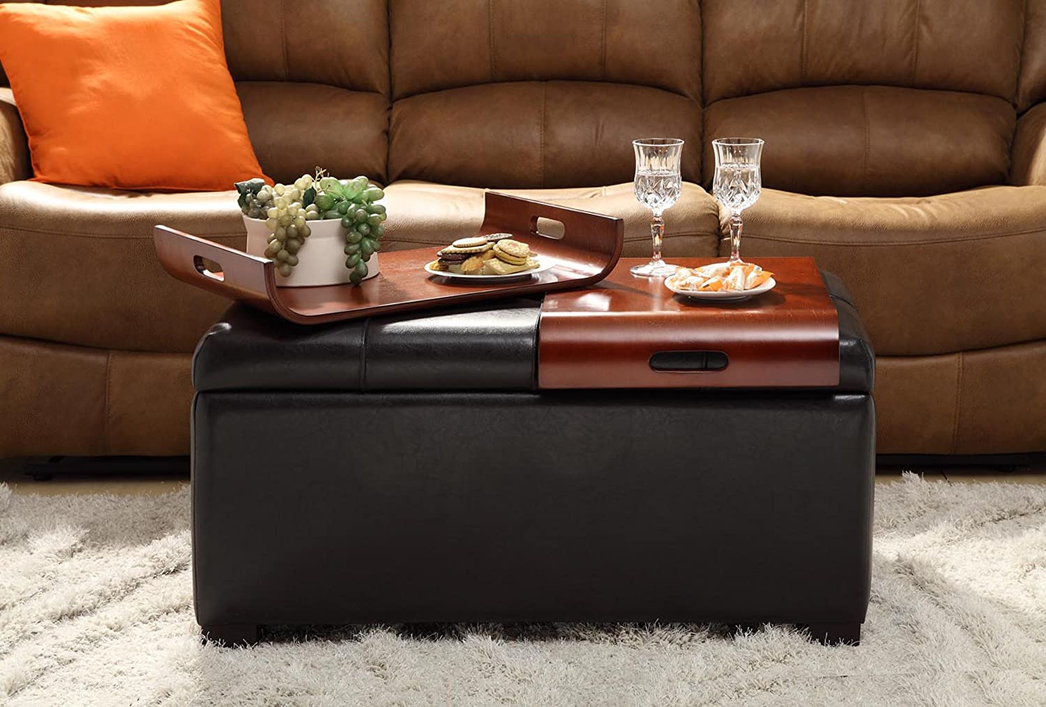 Convenience Concepts Storage Ottoman with Trays, Black 163020B