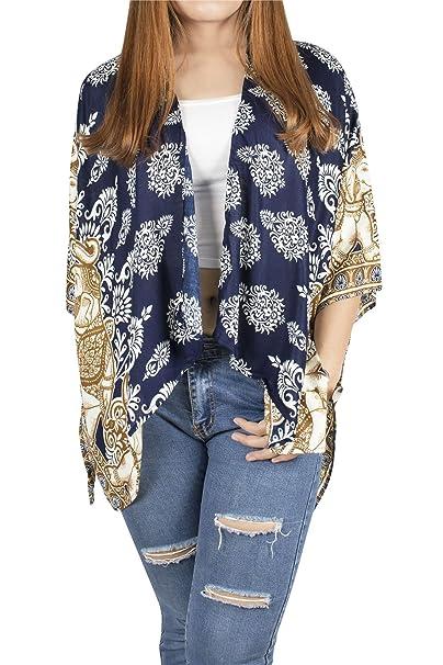 Lofbaz Kimono Rayon de para Mujer - Elephant 19 Armada - OS