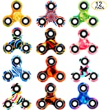 SCIONE Fidget Spinner 12 Pack ADHD Stress Relief Anxiety Toys Best Autism Fidgets Spinners for Adults Children Finger Toy with Bearing Focus Fidgeting Restless Colorful Hand Spin Party Favor