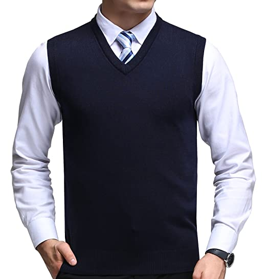 FULIER Hombre Invierno Sin Mangas con Cuello En V Chaleco Classic Business Gentleman Prendas De Punto De Punto Chaleco Suéter Cardigans Tank Tops