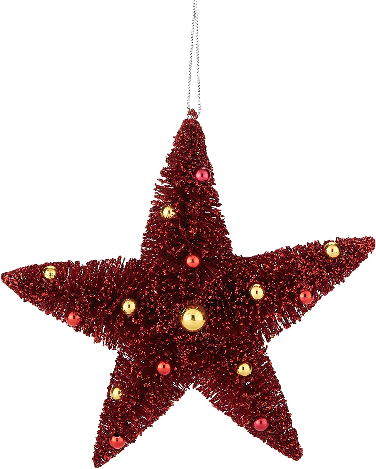 Amazon Com Department 56 Christmas Basics Red Sisal Star Hanging Ornament 5 Inch Home Kitchen