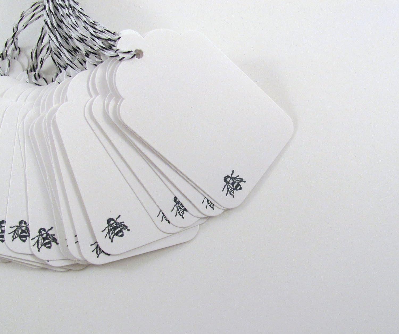 Black Bee Stamped Blank Gift Tag set of 24