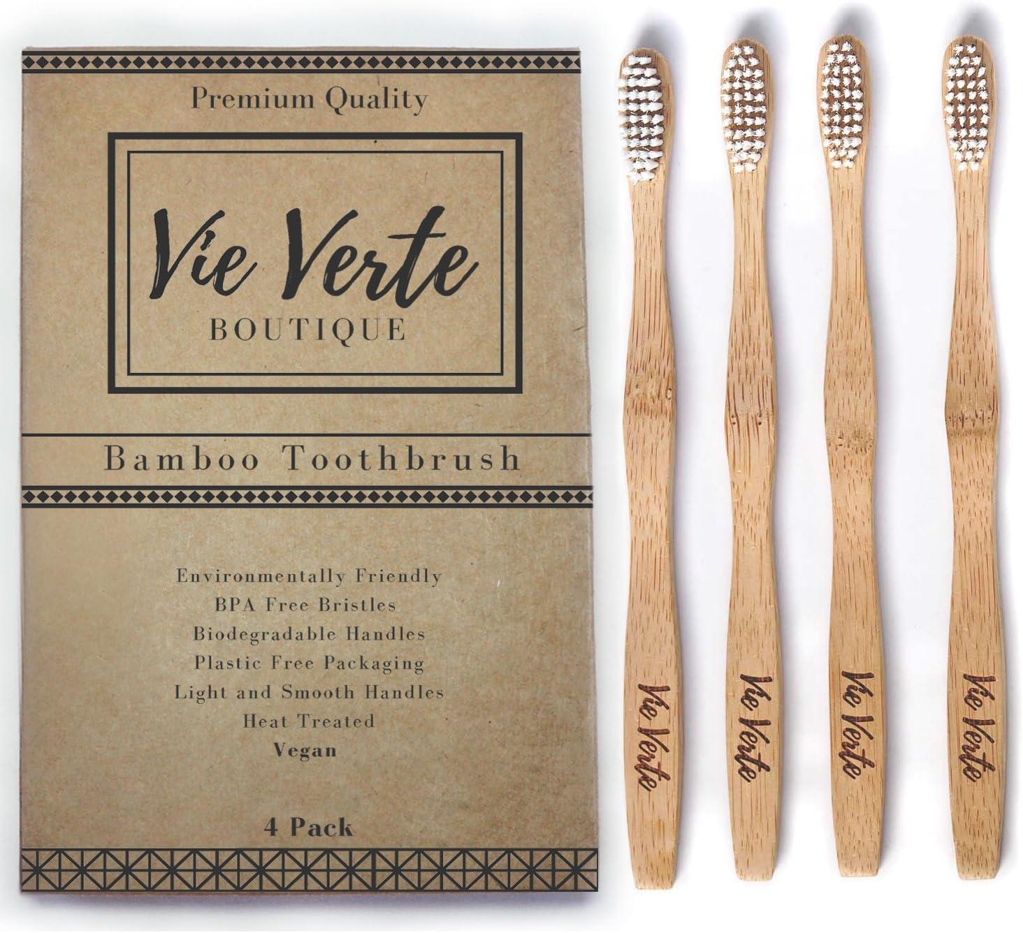 Vie Verte Natural Eco Friendly BAMBOO Toothbrush - Medium Bristles ...