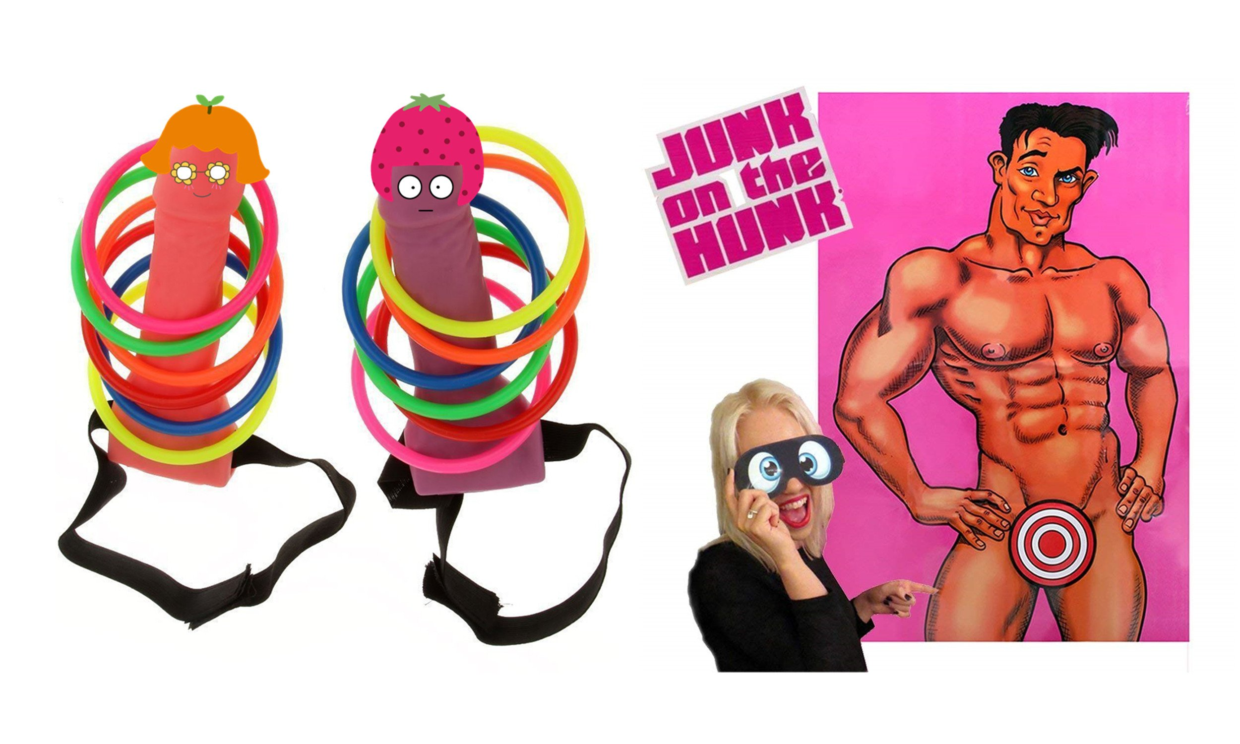 Bachelorette Party Games - Pin the Junk on the Hunk, Funny Ring Toss, Perfect for Bachelorette Party Decorations, Girls Night Out, 21st Birthday Party & Bridal Showers