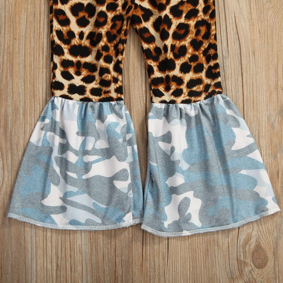 Toddler Kids Girls Bell Bottom Jeans Ruffle Flare Raw Hem Denim Pant Trousers High Waisted Wide Leg Pants Leggings