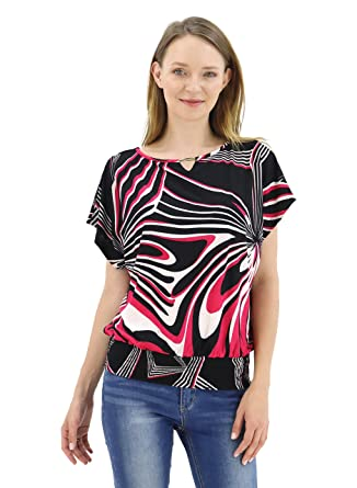 5c954071596e79 BENANCY Womens Batwing Banded Bottom Shirring Dolman Tops Tshirt B/Fuchsia S
