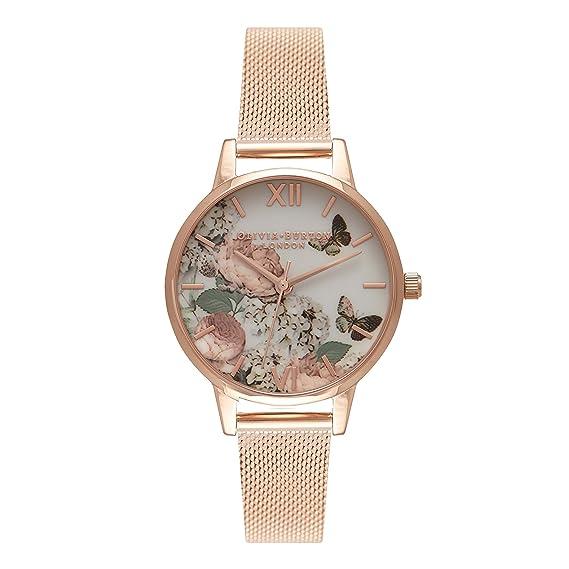 Olivia Burton Reloj Analógico para Mujer de Cuarzo con Correa en Acero Inoxidable OB16FS91
