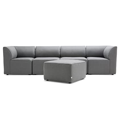 Big Joe Lux Modular Indoor / Outdoor Five Piece Sectional, Cast Slate Sunbrella