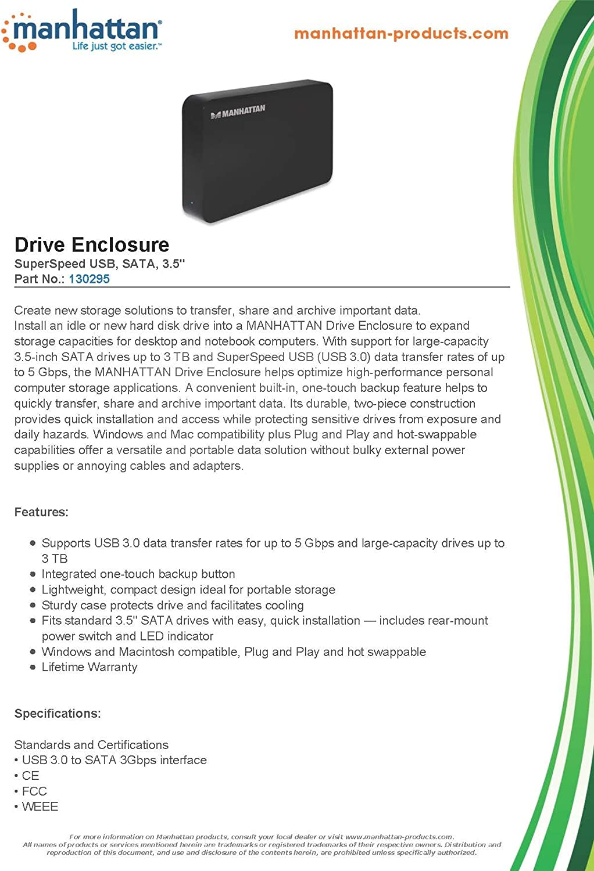 Manhattan SuperSpeed USB 3.5-Inch SATA Drive Enclosure 130295
